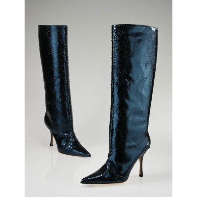 Jimmy Choo Blue Metallic Python High Boots 8/38.5