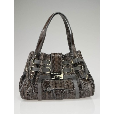 Jimmy Choo Purple Snakeskin Medium Riki Bag