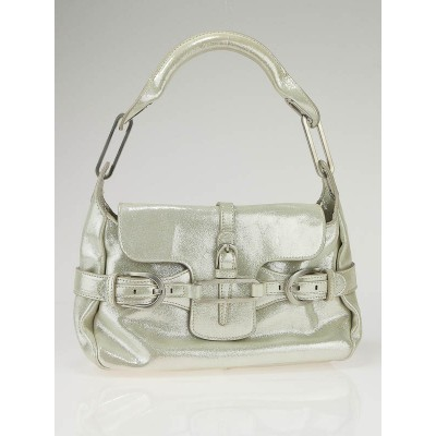 Jimmy Choo Silver Glitter Calfskin Leather Tulita Small Flap Hobo Bag