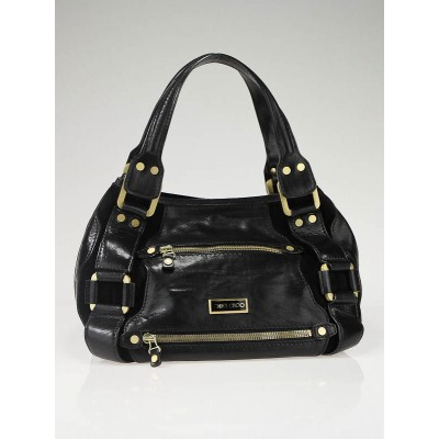 Jimmy Choo Black Leather and Suede Mahala Bag