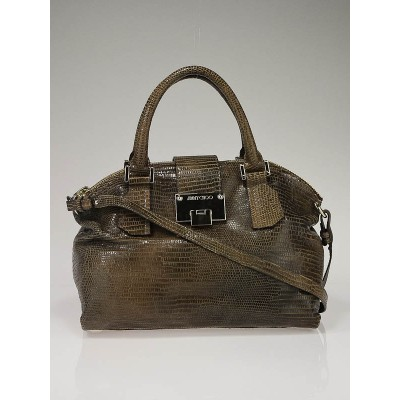 Jimmy Choo Cognac Lizard Embossed Leather Rosa Satchel Bag