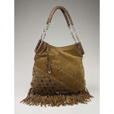 Jimmy Choo Camel Suede and Snakeskin Trim Fringe Tatum Bag