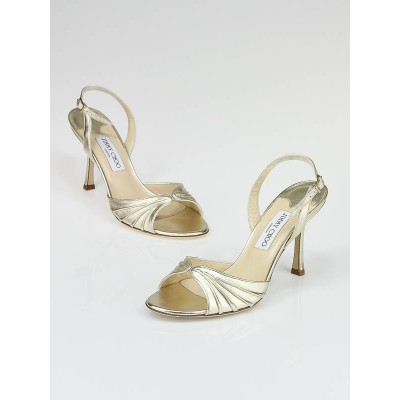 Jimmy Choo Metallic Gold Nappa Leather Heels Size 8/38.5