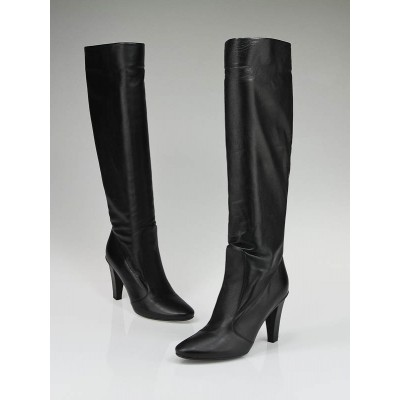 Jimmy Choo Black Leather Knee High 'Heather' Boots Size 9/39.5