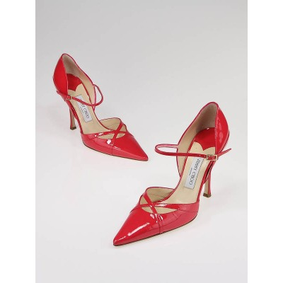 Jimmy Choo Raspberry Patent Leather Pointed Toe Pumps 39.5
