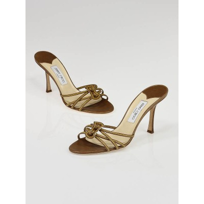 Jimmy Choo Brown and Yellow Leather Strappy Sandals Size 10/40.5