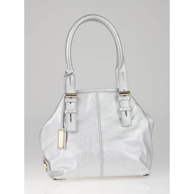 Jimmy Choo Silver Metallic Leather Small Tote Bag