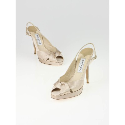 Jimmy Choo Tan Satin Platform Slingbacks Size 7.5/38
