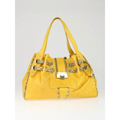Jimmy Choo Yellow Biker Leather Watersnake Trim Ramona Bag