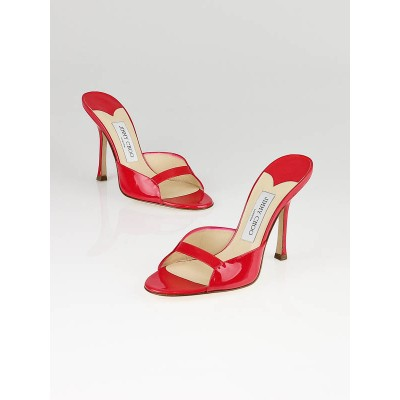 Jimmy Choo Raspberry Patent Leather Sandals Size 7/37.5