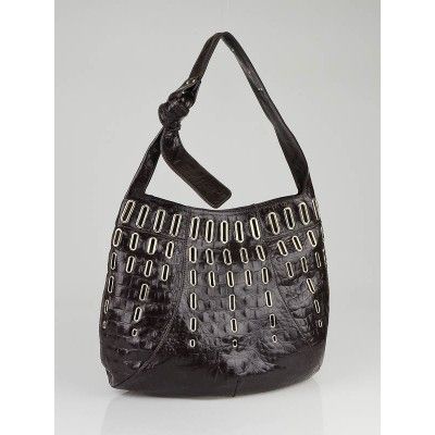 Jimmy Choo Brown Crocodile Embossed Leather Khan Hobo Bag