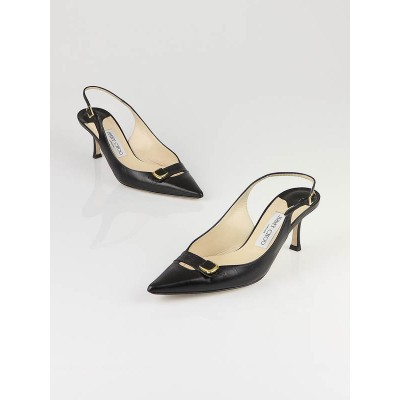 Jimmy Choo Black Leather Forever Slingback Heels Size 7.5/38