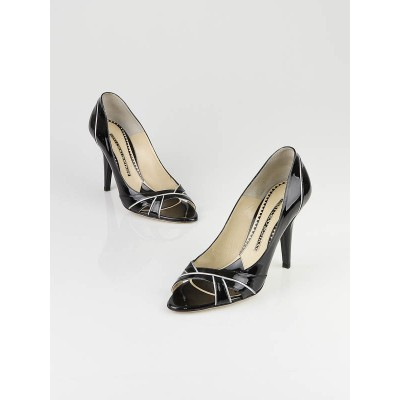 Jimmy Choo Black Patent Leather Maurice Pumps Size 9/39.5