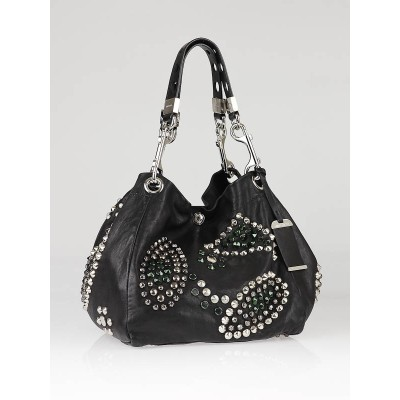 Jimmy Choo Black Lambskin Leather Studded Lola Hobo Bag