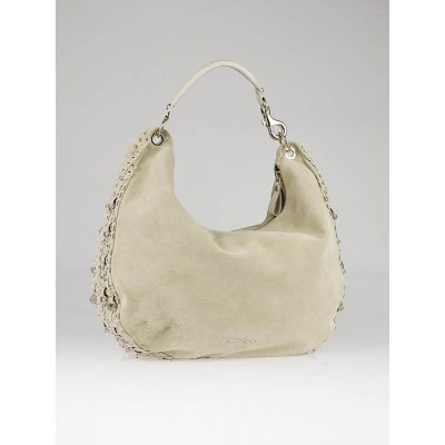 Jimmy Choo Chalk Suede Solar Embellished Hobo Bag