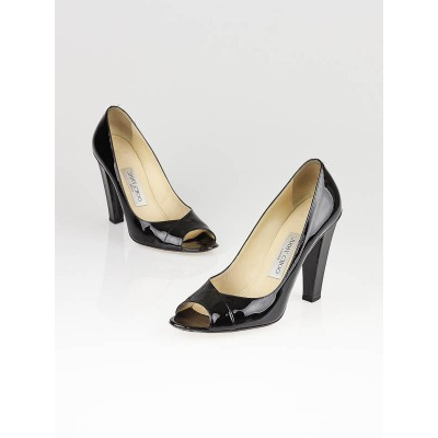 Jimmy Choo Black Patent Leather Otis Peep-Toe Pumps Size 9.5/40