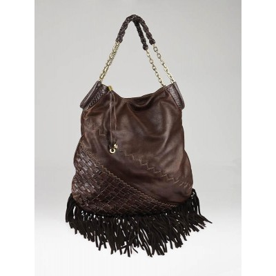 Jimmy Choo Brown Leather and Suede Fringe Tatum Hobo Bag
