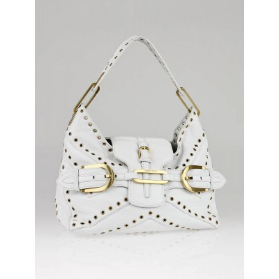 Jimmy Choo White Leather Studded Tulita Shoulder Bag