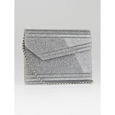Jimmy Choo Silver Glitter Acrylic Candy Clutch Bag
