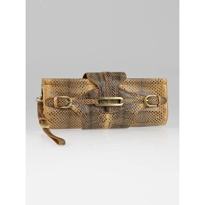 Jimmy Choo Beige Watersnake Tulita Clutch Bag