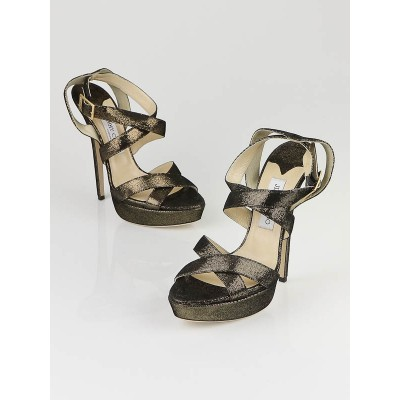 Jimmy Choo Bronze Metallic Louisa Strappy Sandals Size 10/40.5