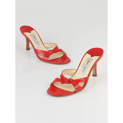 Jimmy Choo Red Leather Bow High Heel Sandals Size 4.5/35