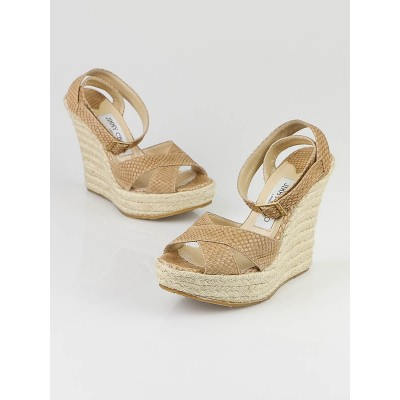 Jimmy Choo Tan Embossed Leather Phoenix Espadrille Wedges Size 6/36.5