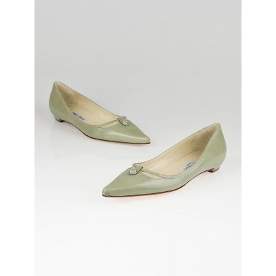 Jimmy Choo Taupe Leather Pointed Toe Flats Size 8.5/39