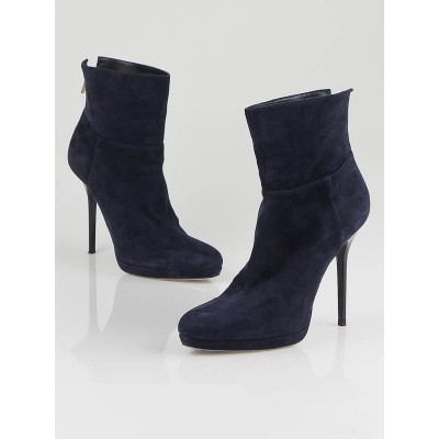 Jimmy Choo Navy Suede Alanis Ankle Boots Size 6.5/37