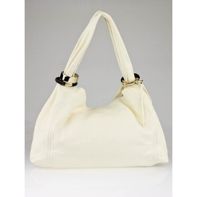 Jimmy Choo Ivory Nappa Leather XL Saba Hobo Bag