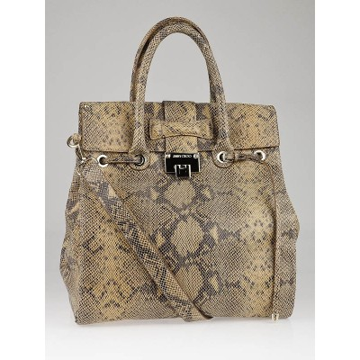 Jimmy Choo Nude/Black Snake Print Leather Large Rosabel Bag