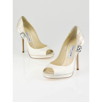 Jimmy Choo Ivory Satin Grant Peep-Toe Pumps Size 9/39.5