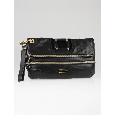 Jimmy Choo Black Calfskin Leather Marin Oversized Clutch Bag