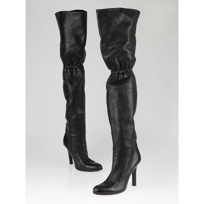 Jimmy Choo Black Leather Thigh High Boots Size 7.5/38