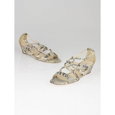 Jimmy Choo Snakeskin Leather Nate Wedge Sandals Size 9.5/40