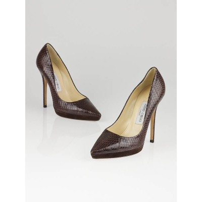 Jimmy Choo Brown Snakeskin Platform Pumps Size 6.5/37