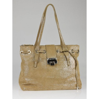 Jimmy Choo Gold Glitter Suede Medium Rhea Tote Bag
