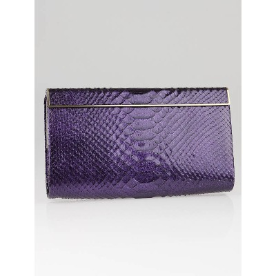 Jimmy Choo Purple Glitter Python Cayla Clutch Bag