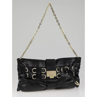 Jimmy Choo Black Leather Rio Oversized Clutch Bag