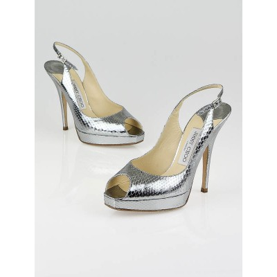 Jimmy Choo Silver Metallic Watersnake Leather Clue Slingback Pumps Size 6.5/37