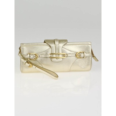 Jimmy Choo Metallic Gold Leather Tulita Clutch Bag