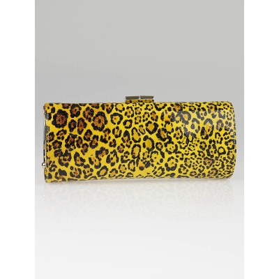Jimmy Choo Leopard Print Patent Leather Tube Clutch Bag