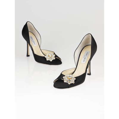 Jimmy Choo Black Satin Tremble D'Orsay Peep Toe Pumps Size 9/39.5