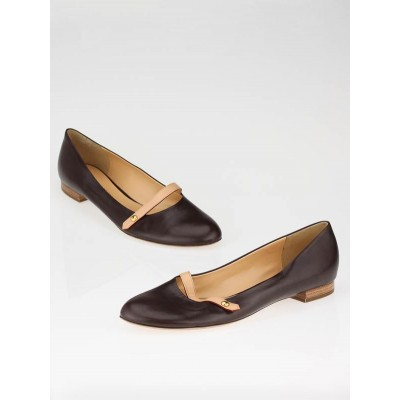 Louis Vuitton Brown Leather Mary Jane Flats Size 10.5/41