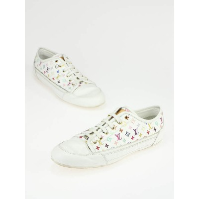Louis Vuitton White Capucine Monogram Canvas Multicolore Sneakers Size 7.5/38