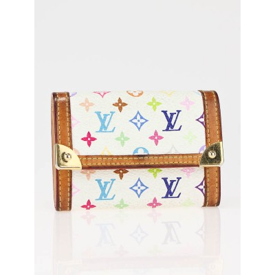 Louis Vuitton White Monogram Multicolor Porte-Monnaie Plat Wallet