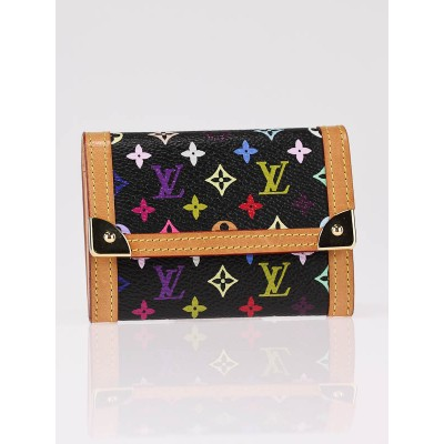 Louis Vuitton Black Monogram Multicolore Port-Monnaie Plat