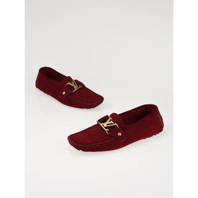 Louis Vuitton Unisex Monte Carlo Red Suede Loafers Size 6