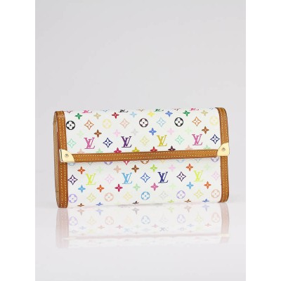Louis Vuitton White Multicolor Monogram Canvas Porte-Tresor International Wallet