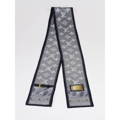 Louis Vuitton Marine Blue New Denim Silk Bandeau Scarf
